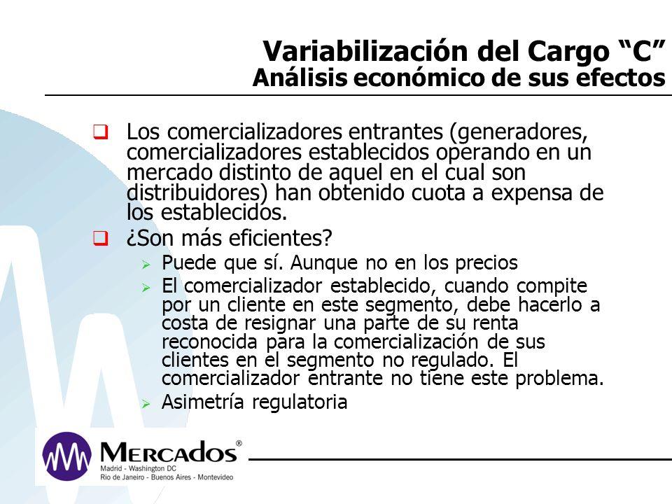Variabilización del Cargo C Análisis económico de sus efectos Los comercializadores entrantes (generadores, comercializadores establecidos operando en