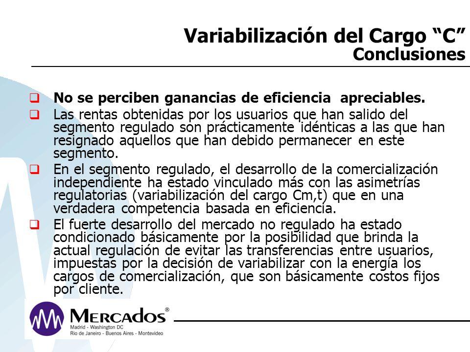 Variabilización del Cargo C Conclusiones No se perciben ganancias de eficiencia apreciables. Las rentas obtenidas por los usuarios que han salido del