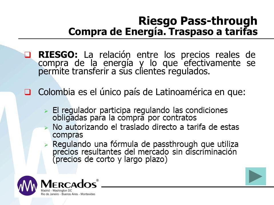 Riesgo Pass-through Compra de Energía. Traspaso a tarifas RIESGO: La relación entre los precios reales de compra de la energía y lo que efectivamente