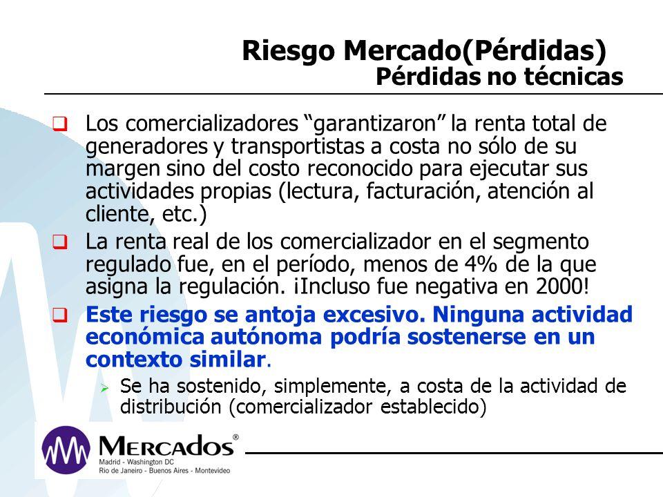 Riesgo Mercado(Pérdidas) Pérdidas no técnicas Los comercializadores garantizaron la renta total de generadores y transportistas a costa no sólo de su