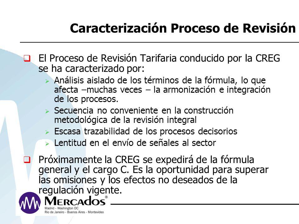 Caracterización Proceso de Revisión El Proceso de Revisión Tarifaria conducido por la CREG se ha caracterizado por: Análisis aislado de los términos d