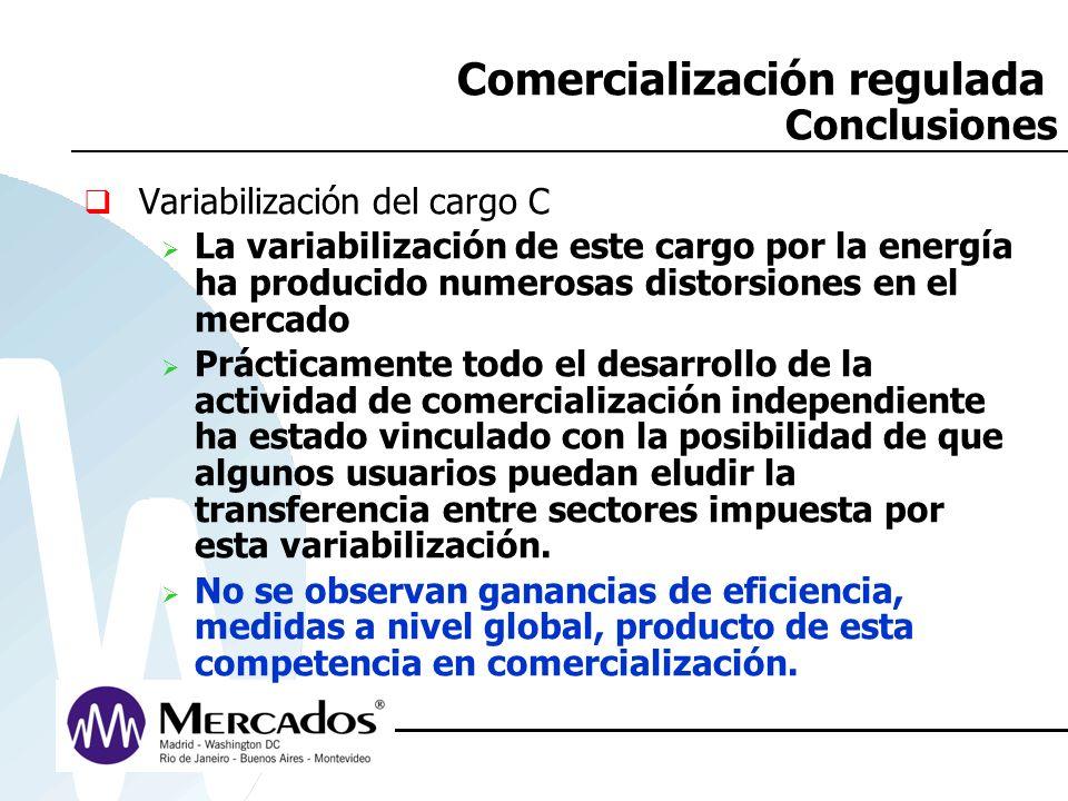 Comercialización regulada Conclusiones Variabilización del cargo C La variabilización de este cargo por la energía ha producido numerosas distorsiones
