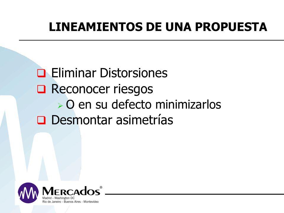 LINEAMIENTOS DE UNA PROPUESTA Eliminar Distorsiones Reconocer riesgos O en su defecto minimizarlos Desmontar asimetrías