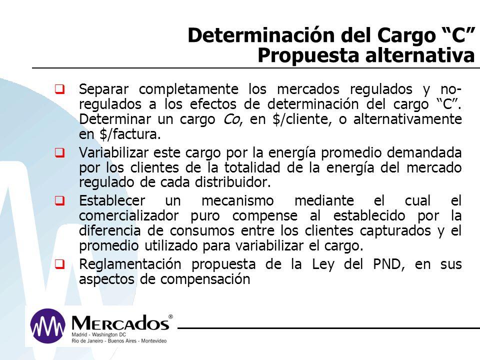Determinación del Cargo C Propuesta alternativa Separar completamente los mercados regulados y no- regulados a los efectos de determinación del cargo