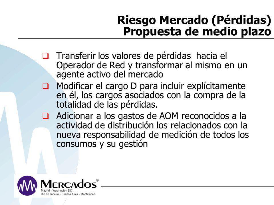 Riesgo Mercado (Pérdidas) Propuesta de medio plazo Transferir los valores de pérdidas hacia el Operador de Red y transformar al mismo en un agente act