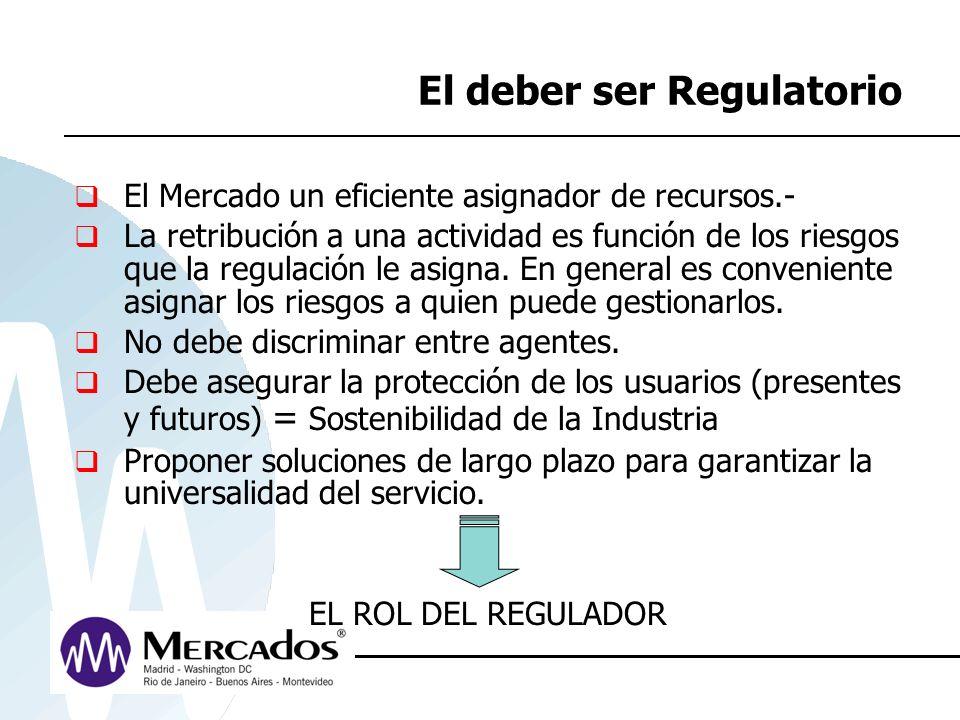 El deber ser Regulatorio El Mercado un eficiente asignador de recursos.- La retribución a una actividad es función de los riesgos que la regulación le