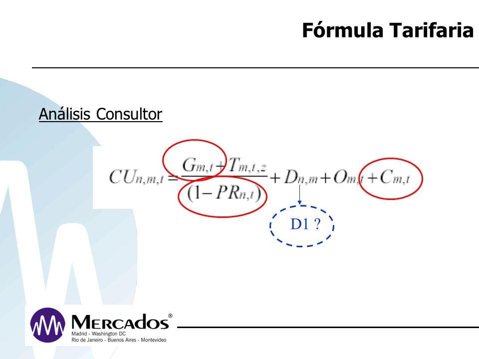 Fórmula Tarifaria Análisis Consultor D1 ?