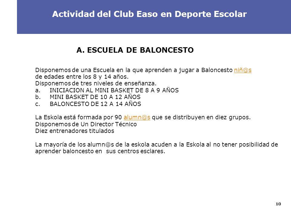 10 2 A. ESCUELA DE BALONCESTO Disponemos de una Escuela en la que aprenden a jugar a Baloncesto niñ@sniñ@s de edades entre los 8 y 14 años. Disponemos