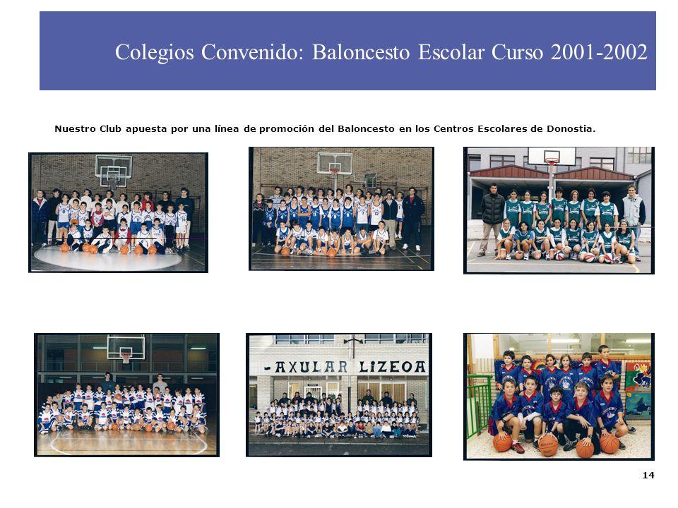 14 Colegios Convenido: Baloncesto Escolar Curso 2001-2002 Nuestro Club apuesta por una línea de promoción del Baloncesto en los Centros Escolares de D
