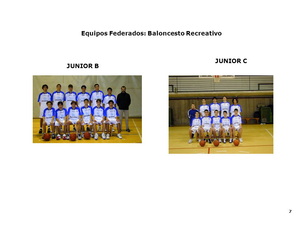 7 Equipos Federados: Baloncesto Recreativo JUNIOR C JUNIOR B