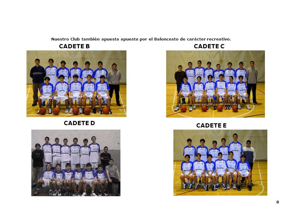 8 CADETE D CADETE B Nuestro Club también apuesta apuesta por el Baloncesto de carácter recreativo. CADETE E CADETE C