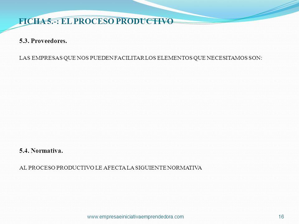 FICHA 5.-: EL PROCESO PRODUCTIVO 5.3. Proveedores. LAS EMPRESAS QUE NOS PUEDEN FACILITAR LOS ELEMENTOS QUE NECESITAMOS SON: 5.4. Normativa. AL PROCESO