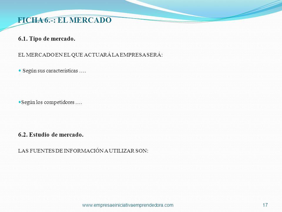 FICHA 6.-: EL MERCADO 6.1. Tipo de mercado. EL MERCADO EN EL QUE ACTUARÁ LA EMPRESA SERÁ: Según sus características …. Según los competidores …. 6.2.