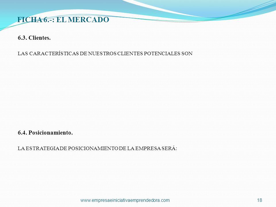 FICHA 6.-: EL MERCADO 6.3. Clientes. LAS CARACTERÍSTICAS DE NUESTROS CLIENTES POTENCIALES SON 6.4. Posicionamiento. LA ESTRATEGIA DE POSICIONAMIENTO D