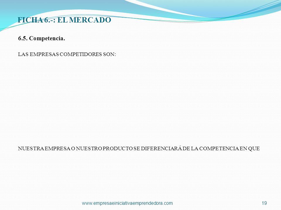 FICHA 6.-: EL MERCADO 6.5. Competencia. LAS EMPRESAS COMPETIDORES SON: NUESTRA EMPRESA O NUESTRO PRODUCTO SE DIFERENCIARÁ DE LA COMPETENCIA EN QUE www