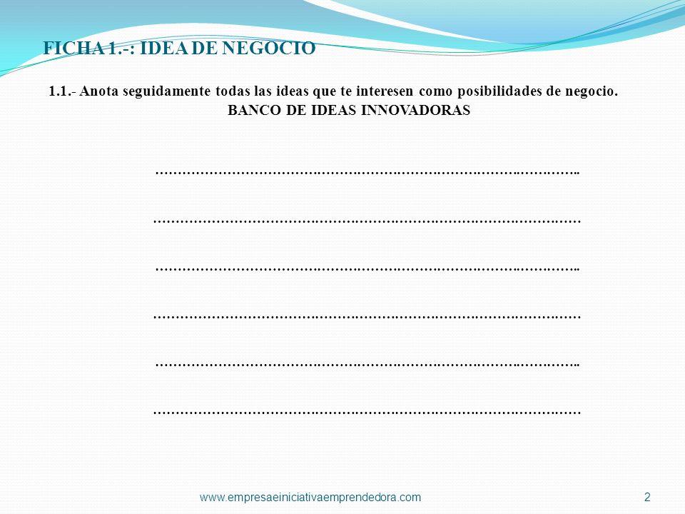 FICHA 1.-: IDEA DE NEGOCIO 1.1.- Anota seguidamente todas las ideas que te interesen como posibilidades de negocio. BANCO DE IDEAS INNOVADORAS …………………