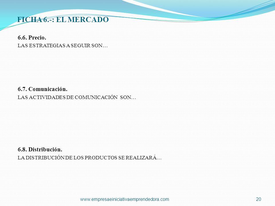 FICHA 6.-: EL MERCADO 6.6. Precio. LAS ESTRATEGIAS A SEGUIR SON… 6.7. Comunicación. LAS ACTIVIDADES DE COMUNICACIÓN SON… 6.8. Distribución. LA DISTRIB