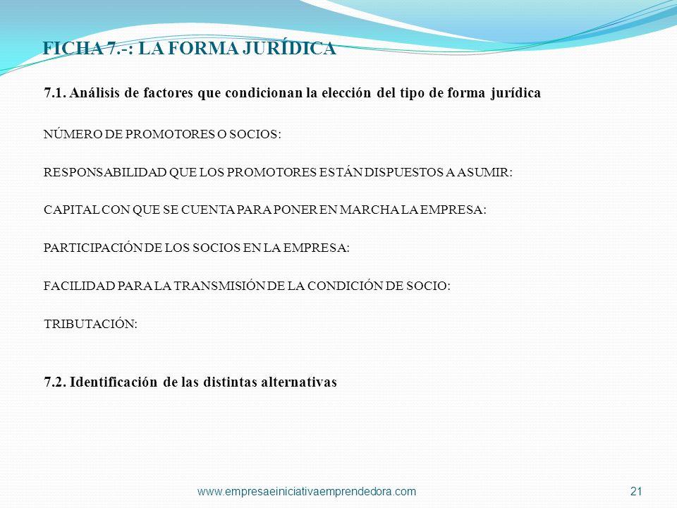 FICHA 7.-: LA FORMA JURÍDICA 7.1. Análisis de factores que condicionan la elección del tipo de forma jurídica NÚMERO DE PROMOTORES O SOCIOS: RESPONSAB