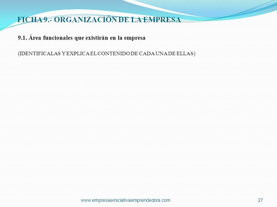 FICHA 9.- ORGANIZACIÓN DE LA EMPRESA 9.1. Área funcionales que existirán en la empresa (IDENTIFICALAS Y EXPLICA EL CONTENIDO DE CADA UNA DE ELLAS) www