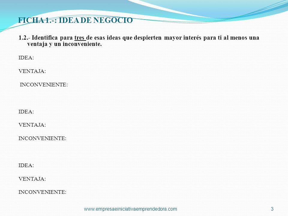 FICHA 1.-: IDEA DE NEGOCIO 1.3.- Breve descripción de la idea que vas a desarrollar con tu grupo.