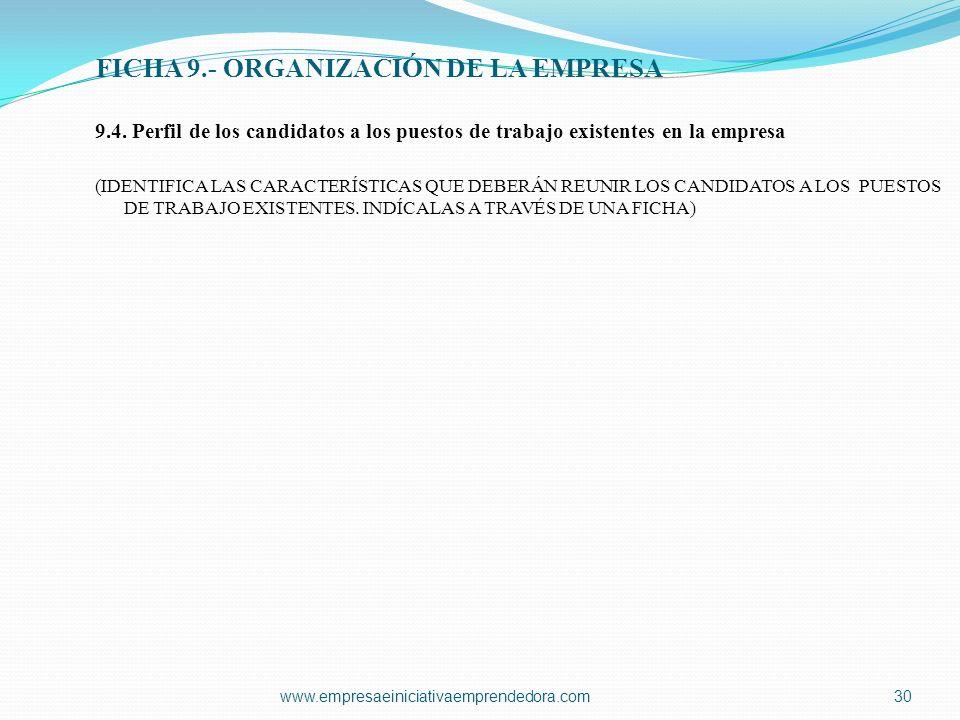 www.empresaeiniciativaemprendedora.com30 9.4. Perfil de los candidatos a los puestos de trabajo existentes en la empresa (IDENTIFICA LAS CARACTERÍSTIC