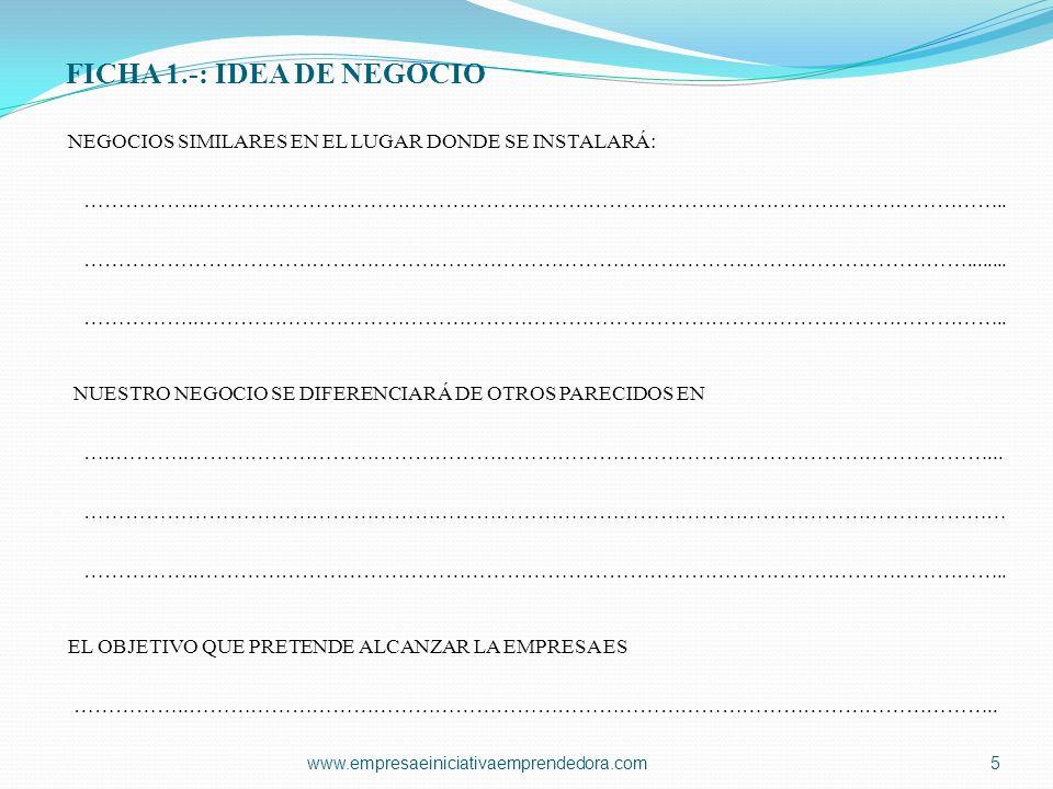 FICHA 1.-: IDEA DE NEGOCIO NEGOCIOS SIMILARES EN EL LUGAR DONDE SE INSTALARÁ: ……………..……………………………………………………………………………………………………….. ……………………………………………………………