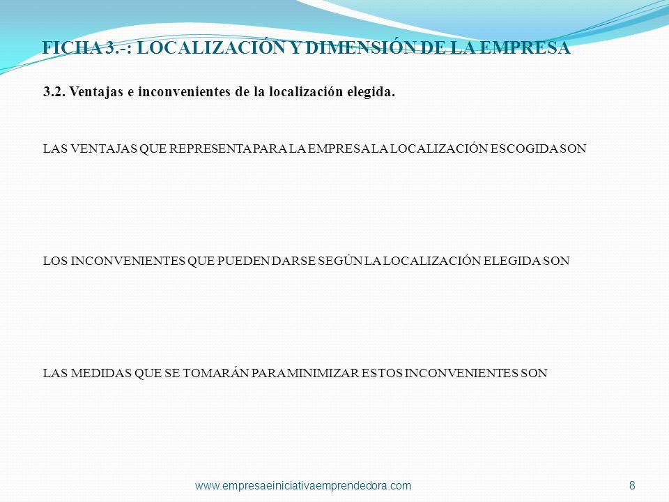 FICHA 3.-: LOCALIZACIÓN Y DIMENSIÓN DE LA EMPRESA 3.2.