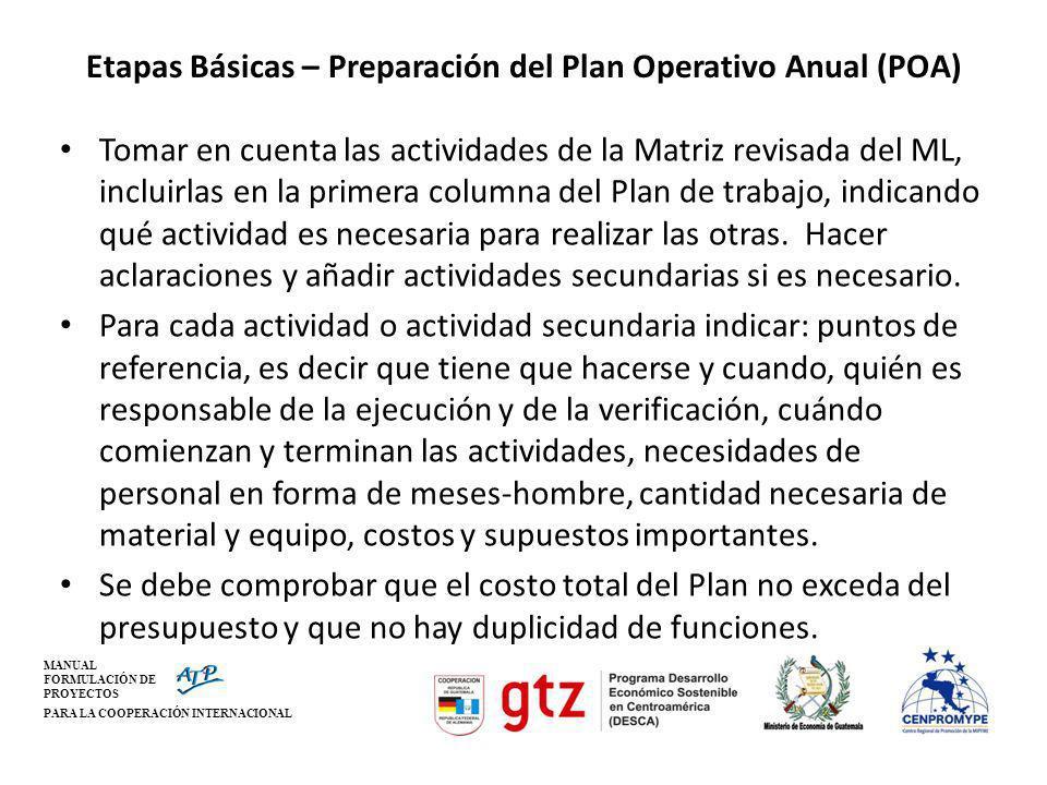 MANUAL FORMULACIÓN DE PROYECTOS PARA LA COOPERACIÓN INTERNACIONAL Etapas Básicas – Preparación del Plan Operativo Anual (POA) Tomar en cuenta las acti