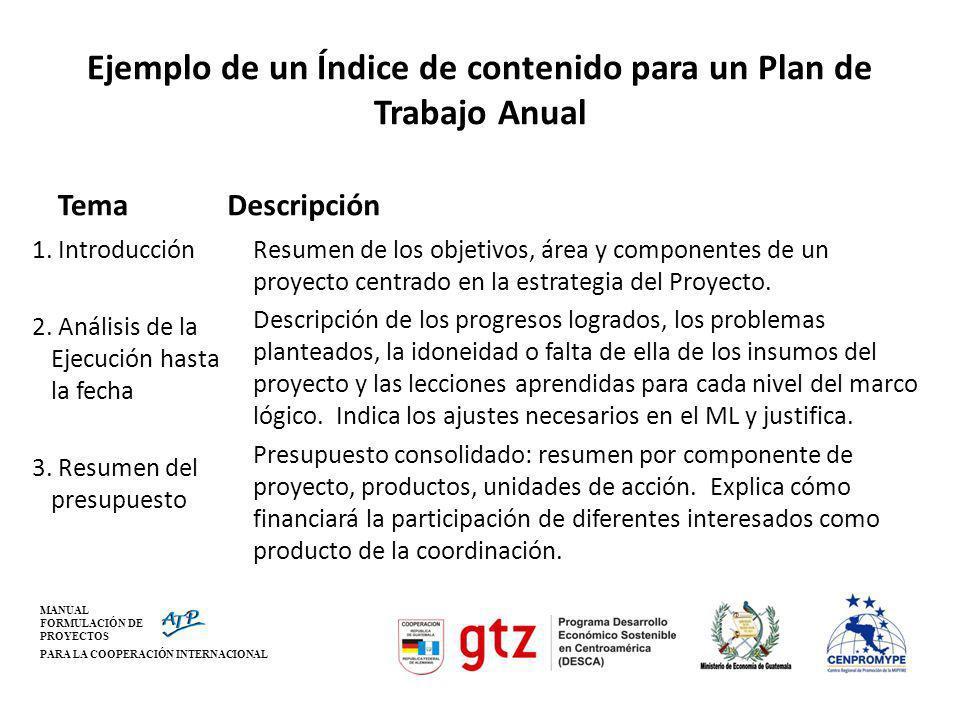 MANUAL FORMULACIÓN DE PROYECTOS PARA LA COOPERACIÓN INTERNACIONAL Ejemplo de un Índice de contenido para un Plan de Trabajo Anual Tema 1. Introducción