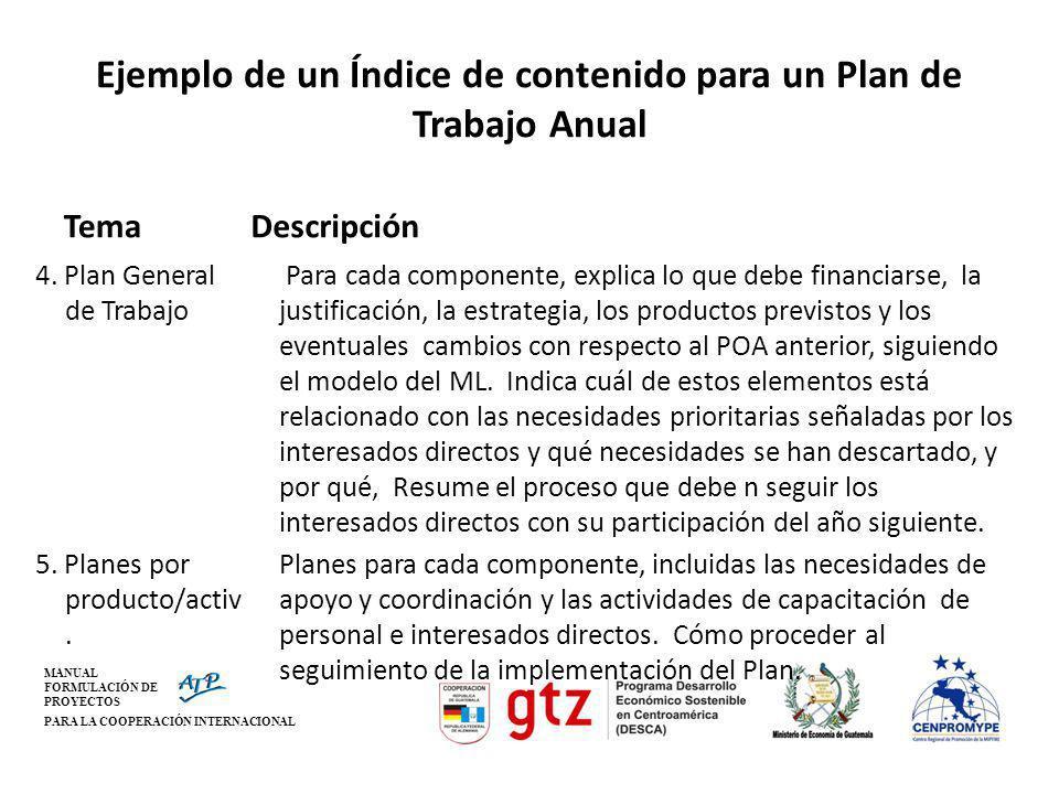 MANUAL FORMULACIÓN DE PROYECTOS PARA LA COOPERACIÓN INTERNACIONAL Ejemplo de un Índice de contenido para un Plan de Trabajo Anual Tema 4. Plan General