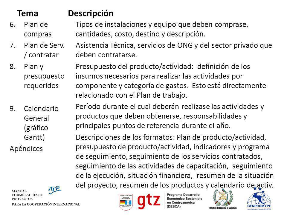 MANUAL FORMULACIÓN DE PROYECTOS PARA LA COOPERACIÓN INTERNACIONAL Tema 6.Plan de compras 7.Plan de Serv. / contratar 8.Plan y presupuesto requeridos 9