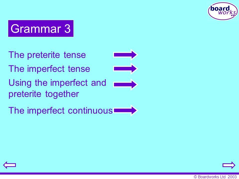 © Boardworks Ltd 2003 ía ías ía íamos íais ían abr ABRIR= to open The imperfect tense 11 I opened, was opening, I used to open.