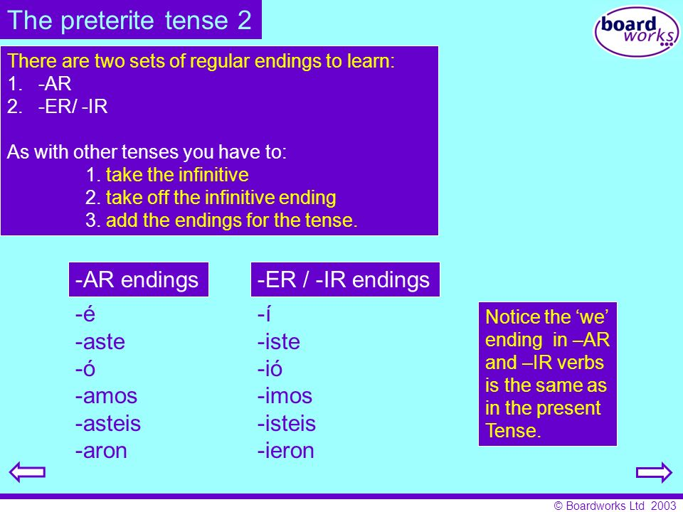 © Boardworks Ltd 2003 To summarise: The imperfect tense is used for descriptions in the past and the meaning of the imperfect tense can change according to context and use.