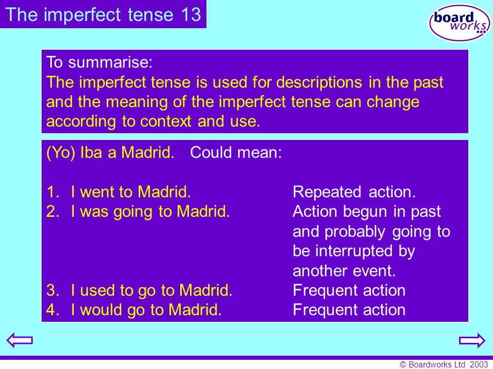 © Boardworks Ltd 2003 To summarise: The imperfect tense is used for descriptions in the past and the meaning of the imperfect tense can change accordi