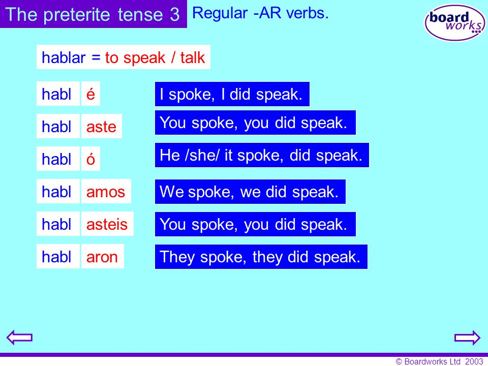 © Boardworks Ltd 2003 Choose 3 of the verbs below and write them out in full: aceptar = to accept cantar = to sing llorar = to cry amar = to love charlar = to chat mirar = to look at arreglar = to fix dibujar = to draw pagar = to pay ayudar = to help entrar = to go in pescar = to fish bajar = to go down ganar = to win saltar = to jump bailar = to dance lavar = to wash tocar = to touch llenar = to fill viajar = to travel Put the verb in brackets into the correct part of the preterite.