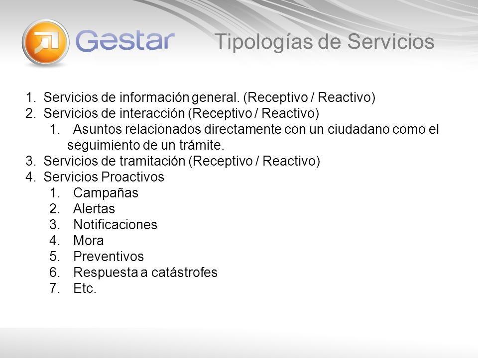 Tipologías de Servicios 1.Servicios de información general. (Receptivo / Reactivo) 2.Servicios de interacción (Receptivo / Reactivo) 1.Asuntos relacio