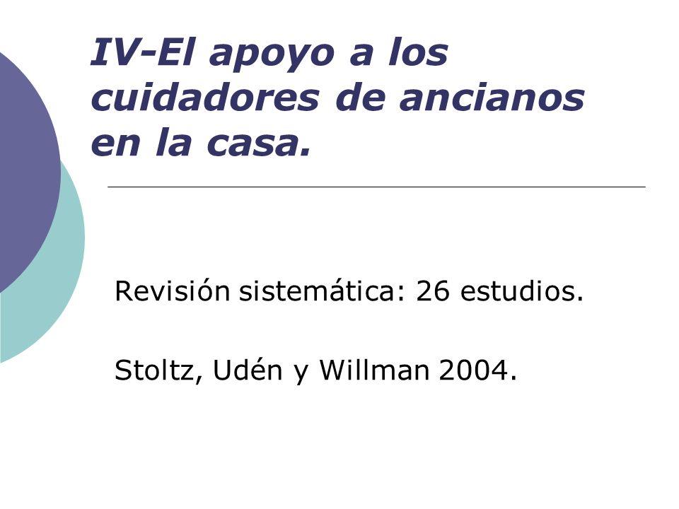 IV-El apoyo a los cuidadores de ancianos en la casa. Revisión sistemática: 26 estudios. Stoltz, Udén y Willman 2004.