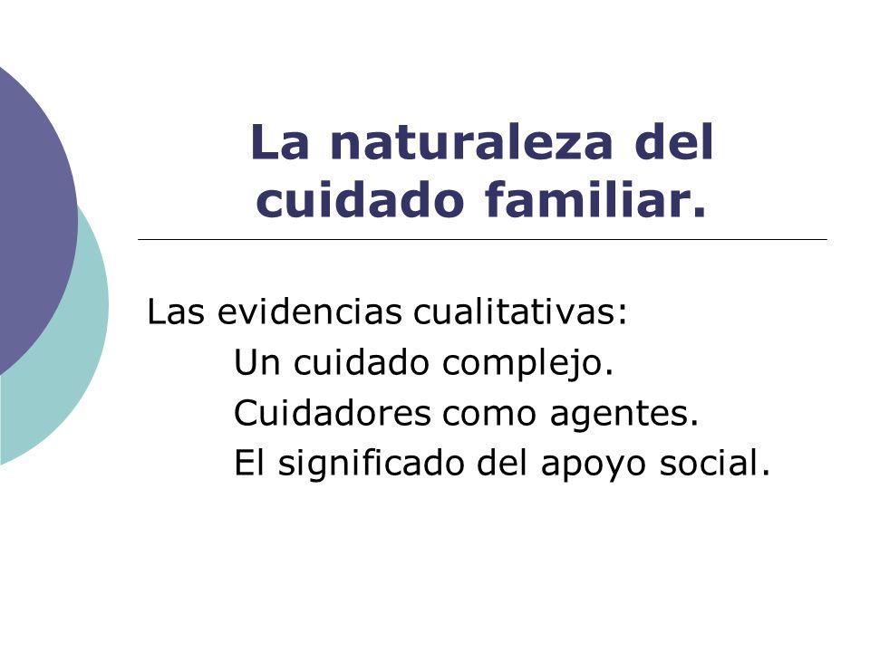 La naturaleza del cuidado familiar. Las evidencias cualitativas: Un cuidado complejo. Cuidadores como agentes. El significado del apoyo social.