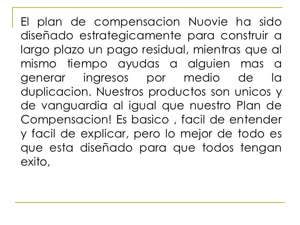 El plan de compensacion Nuovie ha sido diseñado estrategicamente para construir a largo plazo un pago residual, mientras que al mismo tiempo ayudas a