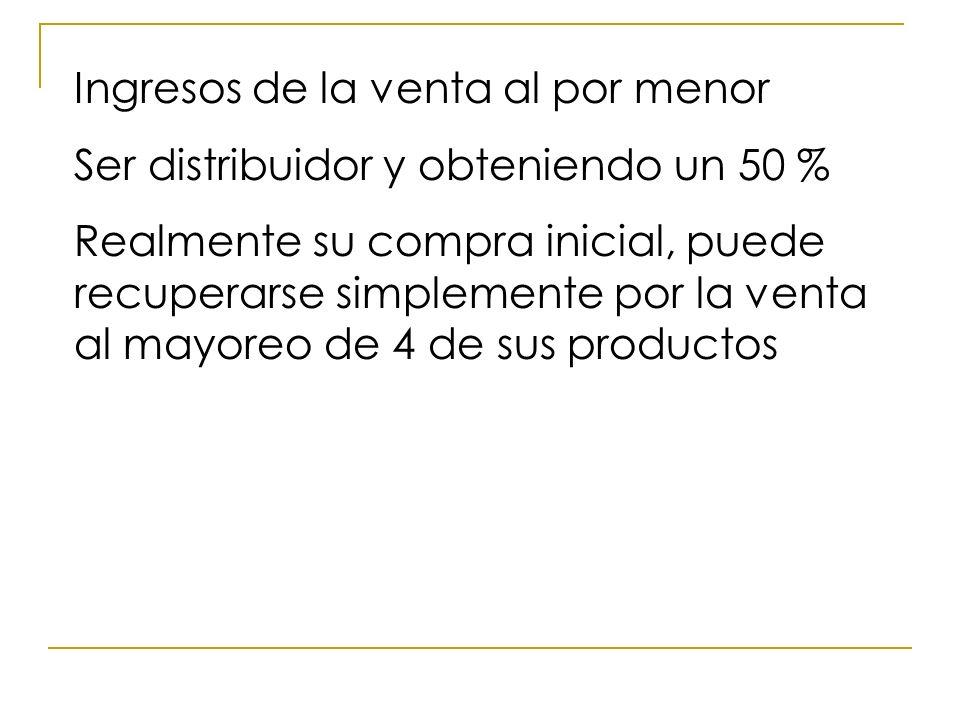 Ingresos de la venta al por menor Ser distribuidor y obteniendo un 50 % Realmente su compra inicial, puede recuperarse simplemente por la venta al may