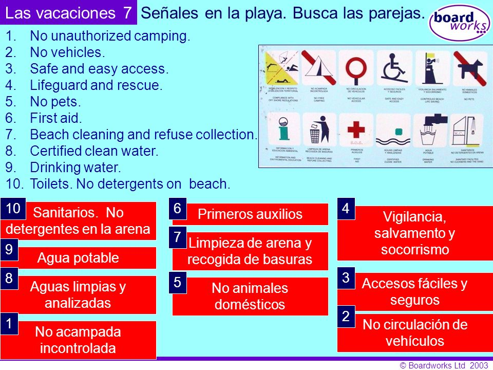© Boardworks Ltd 2003 Busca las parejas. 1.No unauthorized camping. 2.No vehicles. 3.Safe and easy access. 4.Lifeguard and rescue. 5.No pets. 6.First