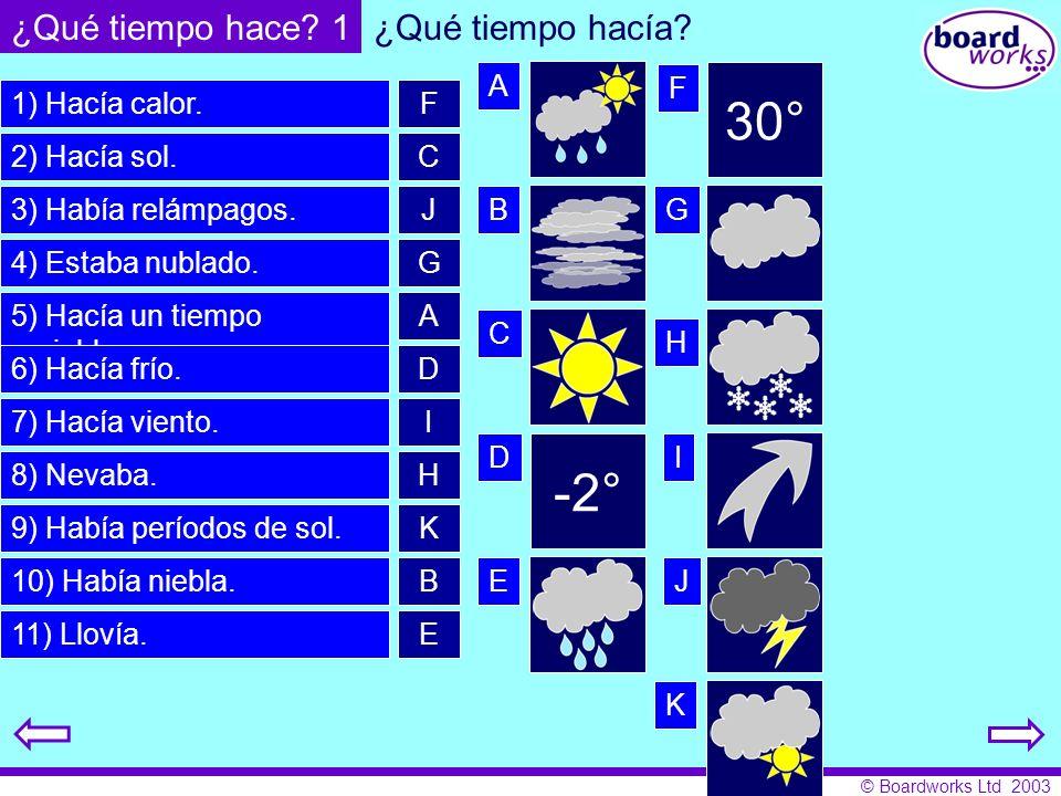© Boardworks Ltd 2003 1) Hacía calor. 2) Hacía sol. 3) Había relámpagos. 4) Estaba nublado. 5) Hacía un tiempo variable. 6) Hacía frío. 7) Hacía vient