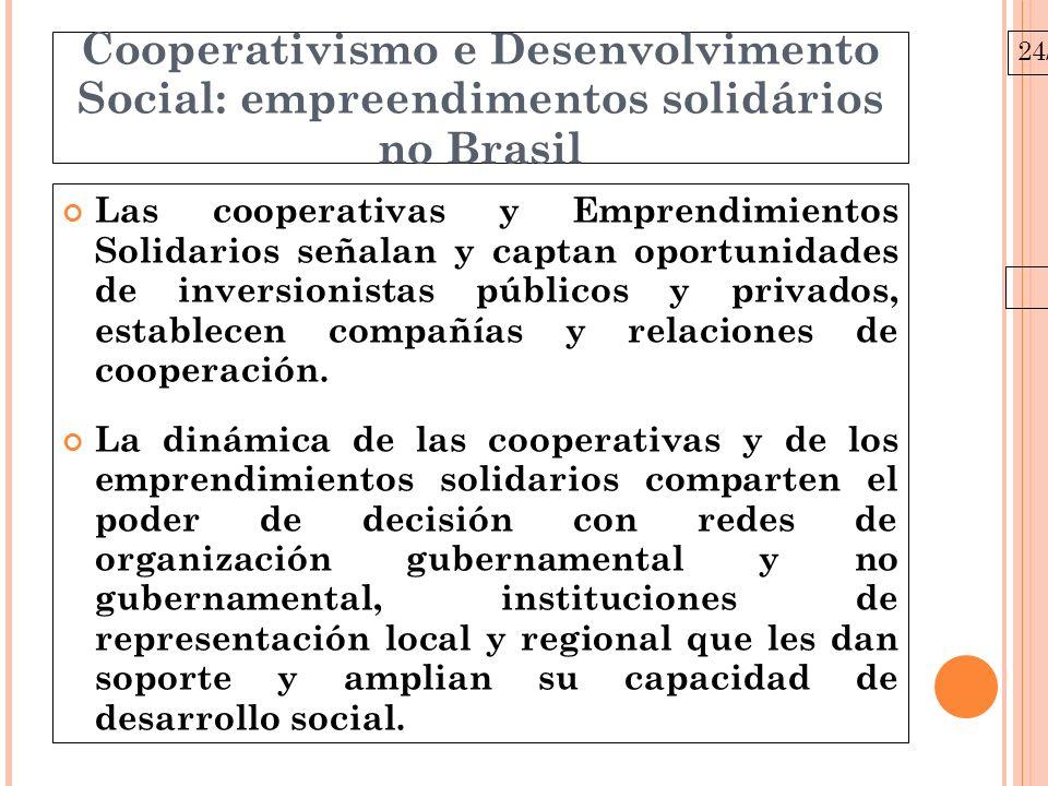 24/03/10 Cooperativismo e Desenvolvimento Social: empreendimentos solidários no Brasil Las cooperativas y Emprendimientos Solidarios señalan y captan oportunidades de inversionistas públicos y privados, establecen compañías y relaciones de cooperación.