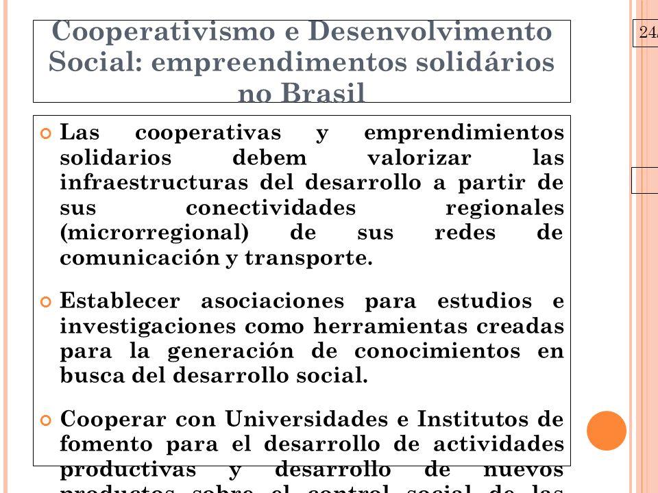 24/03/10 Cooperativismo e Desenvolvimento Social: empreendimentos solidários no Brasil Las cooperativas y emprendimientos solidarios debem valorizar las infraestructuras del desarrollo a partir de sus conectividades regionales (microrregional) de sus redes de comunicación y transporte.
