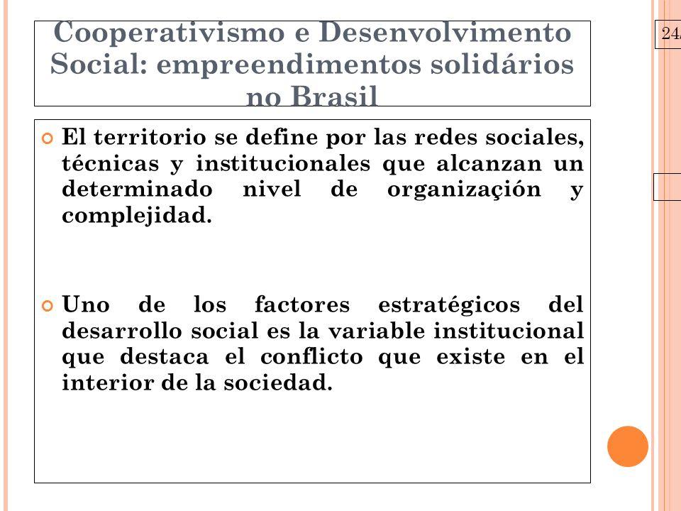 24/03/10 Cooperativismo e Desenvolvimento Social: empreendimentos solidários no Brasil El territorio se define por las redes sociales, técnicas y institucionales que alcanzan un determinado nivel de organizaçión y complejidad.
