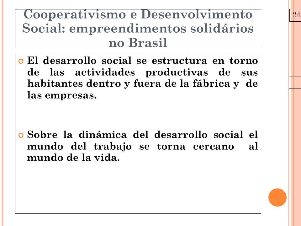 24/03/10 Cooperativismo e Desenvolvimento Social: empreendimentos solidários no Brasil El cooperativismo gana relevancia como forma de organización social del trabajo debido a la articulación de las prácticas productivas que generan ingresos, espacios de expresión y participación social.
