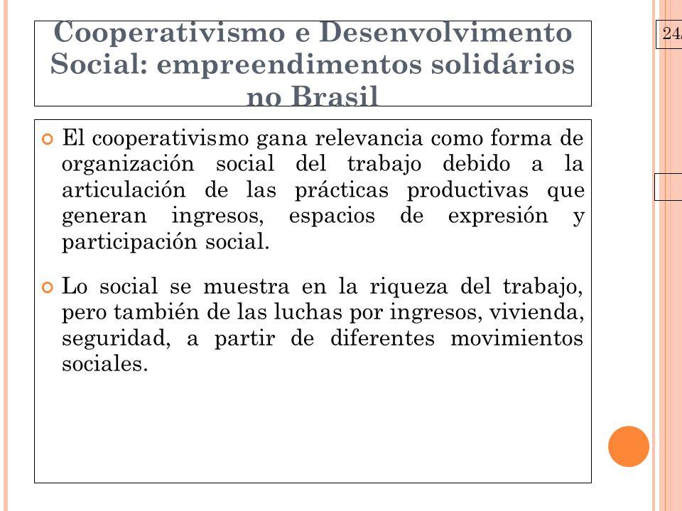 24/03/10 Cooperativismo e Desenvolvimento Social: empreendimentos solidários no Brasil Cuál es el papel de las cooperativas en el deserrollo social.