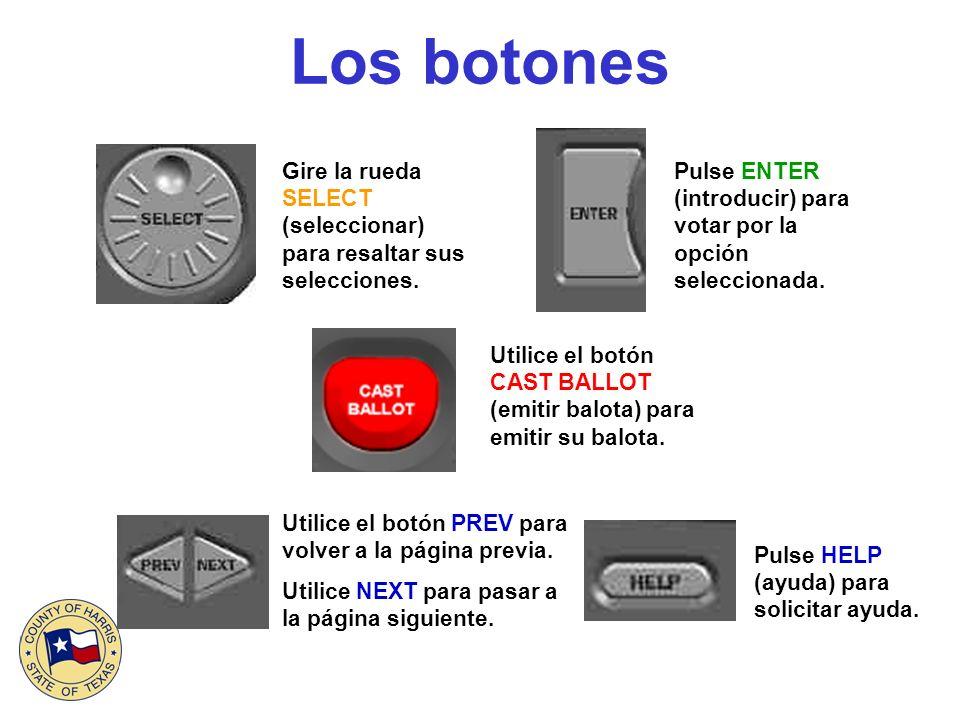 Los botones Utilice el botón CAST BALLOT (emitir balota) para emitir su balota. Pulse HELP (ayuda) para solicitar ayuda. Utilice el botón PREV para vo