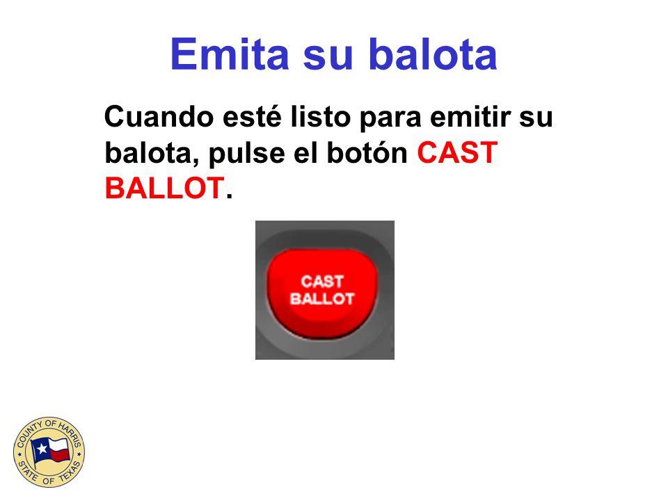 Emita su balota Usted ha registrado su voto cuando vea en la pantalla la bandera flameante de los Estados Unidos.