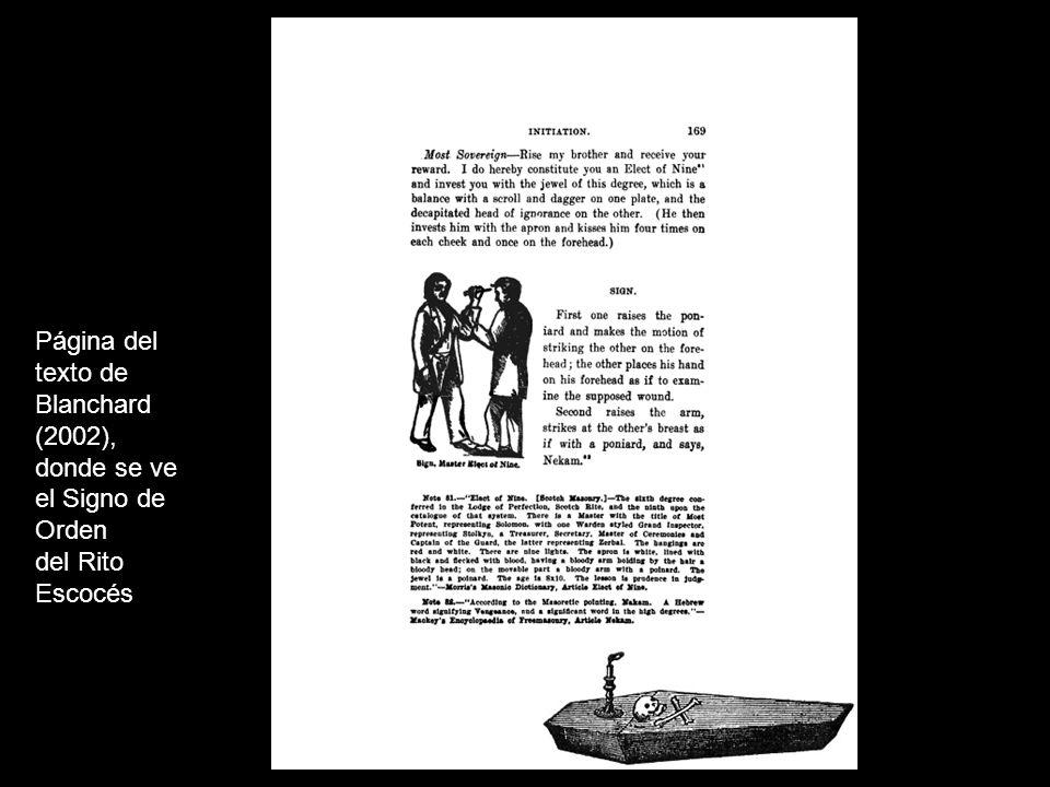 Página del texto de Blanchard (2002), donde se ve el Signo de Orden del Rito Escocés